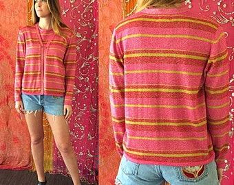 Sale Vintage 70s Sweater Metallic Rainbow Sweater Party Cardigan Set
