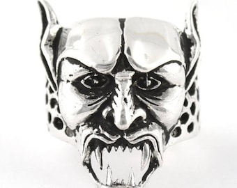 August SALE Sterling Silver 925 Skull Devil Ring Made in USA