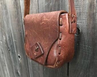 1970's Handmade Vintage Leather Shoulder Bag
