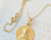 Necklace - Our Lady of Sorrows SPAIN - 18K Gold Vermeil 20.5mm + 18 inch Italian 18K Gold Vermeil Chain