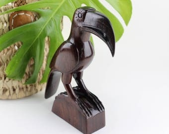 Vintage Wood Carved Toucan Bird Statue