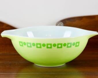 Vintage Pyrex, Green Dot Squares, Promotional, Cinderella Mixing Bowl, #444
