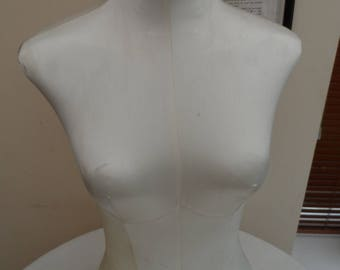 Vintage circa 1980 Female Form Torso Manikin Silk Covered Mannequin