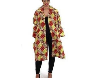 African Print Open Jacket