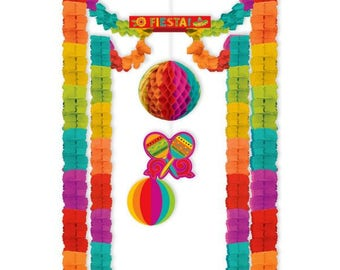 Spectacular Caliente Fiesta Spectacular All In One Decoration Kit - Candy Buffet Backdrop - Entryway & More!  Beautiful Fun Party Decor