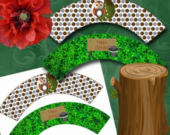 Woodland Cupcake Wrappers Instant Download Printable Cupcake Wrappers