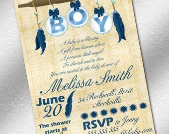 Baby Shower Invitation - Printable Blue Baby Shower Invitation - Instant Download - Boho Chic Baby Shower Invitation