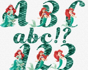 The Little Mermaid Alphabet   Instant Download   Arial Digital Letters and Numbers   Printable Letters and Numbers