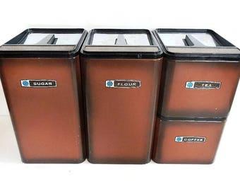 Vintage Set of 4 Masterware Metal Canisters - flour, sugar, coffee, tea, brown, chrome, black - stackable, storage,retro,kitchen, pantry,MCM
