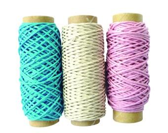 3 rolls of 20 m of hemp twine: blue, beige, pink