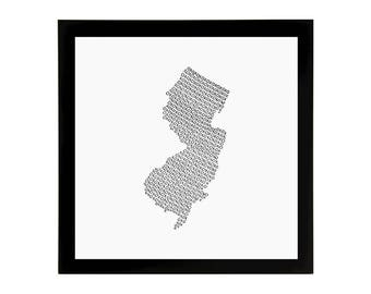 New Jersey State Love Art Print