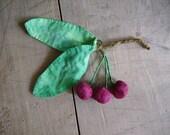 Branche de cerises textile
