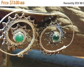Holiday SALE 85 % OFF Onyx  Sterling Silver Golden Brass Hoops Earrings