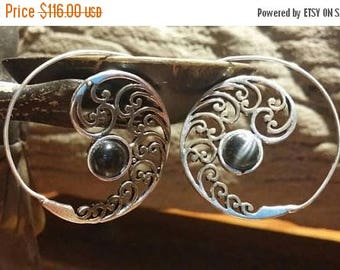 Holiday SALE 85 % OFF Onyx Golden brass 925 Sterling Silver  hoop Earrings Tribal Ethnic Spiral