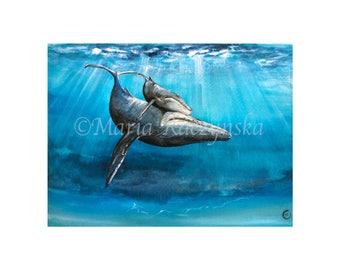 Humpback Whales - Watercolors - Original PRINT