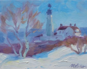 Portland Head Lighthouse, Early March. Oil on Canvas Panel, 6 x 8 inch