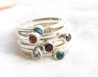 November birthstone- Topaz ring-,Stacking rings- Silver stacking ring with topaz- Stackable rings- Rinbow stacking ring- Swarovski gems
