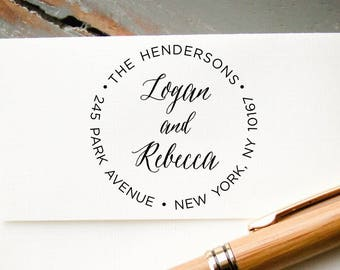 Self Inking Address Stamp, Custom Return Address Stamp, Calligraphy Font Personalized Stamp, Custom Stamp, Wedding Stamp, Bridal Shower