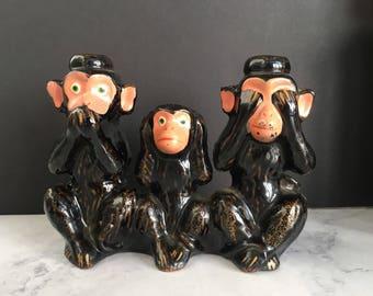 Vintage 3 Wise Monkeys, Hear No Evil Speak No Evil See No Evil Monkey, Made in Japan, monkey figurine, monkey lover gift, desk accessory