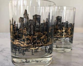 Vintage Baltimore Skyline Barware, old fashioned glass DOF, mid century modern barware, black and gold glassware, baltimore souvenir glass