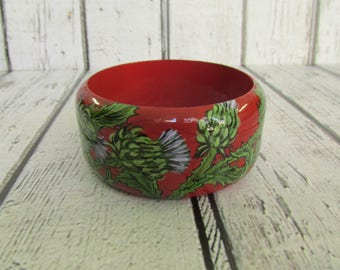 """Hand Painted Wooden Bangle Bracelet """"Thorny Burr"""", Red/Green Hand Painted Wooden Bangle Bracelet, a summer bracelet, a bracelet on hand"""