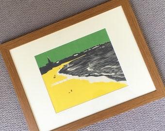 Tynemouth, Longsands beach, woodblock print