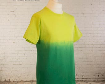 Mens pastel grunge shirt ombre dip dyed gradient yellow to green t shirt guys gift pastel goth shirt steampunk clothing mens gift Size M