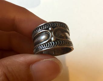 Boho Silver Ring, Vintage Sterling Silver Jewelry, Cool Chunky Ring