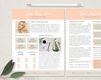 Media Kit Template - Blogger Media Kit, Press Kit Template, Ad Rate Sheet, 2 Page Media Kit, Instant Download, Photoshop Template