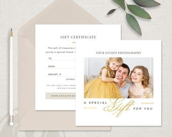 Holiday Photography Gift Certificate Template - Holiday Gift Certificate Template, Instant Download, Printable Gift Certificate