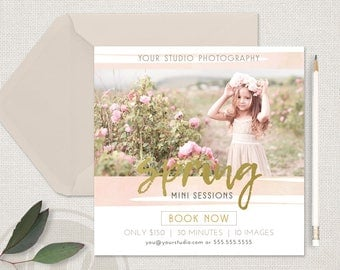 Spring Mini Session Template - Instagram Marketing Template, Spring Marketing Board, Instant Download, Photoshop Template for Photographers