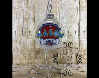 Personalized Paw Patrol Inspired Floating Christmas Ornament