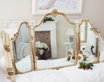 French Louis Style Table Mirror Vintage Triple Section Dresser Mirror  Bedroom Vanity Mirrors M324