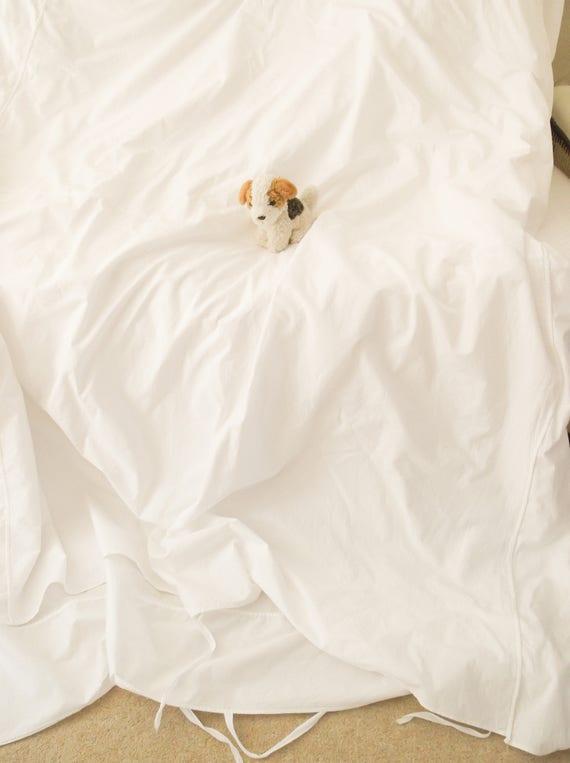 Vintage white cotton mattress cover Antique white cotton feather mattress cover Double bed size cotton mattress cover Tie ends