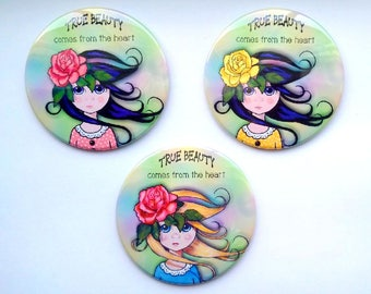 "Set of THREE Purse or Pocket Mirrors, 3.5"", True Beauty Comes From the Heart, Big-Eyed Girl, Pink Rose, Whimsical Art, in Organza Bag, Gift"