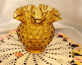 Vintage Hobnobbed Amber colored Fenton Vase