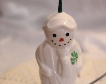 Vintage Belleek Skiing Snowman Shamrock Christmas Hanging Bell / Ornament Original Package, Made in Ireland