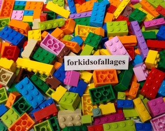 Lego Bulk 200 Piece Lot ONLY BRICKS BLOCKS Mixed Sizes Bright Colors 100% Lego Brand