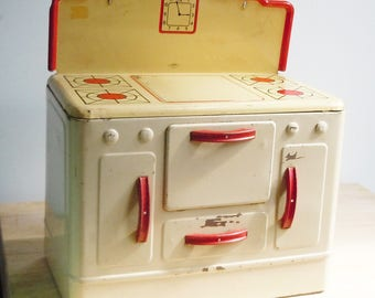 Toy Stove  / Vintage Art deco Child's Toy / Red and White / Inviting Kitchen Decor / Adorable Tin Toy