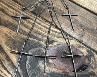 Gunmetal cross and long necklace