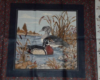 Ducks Print Cotton Quilt/Quilting Fabric Panels for Pillows~Set of 4 and Backing Fabric~Mallards/Wood Ducks~Cranston VIP Print