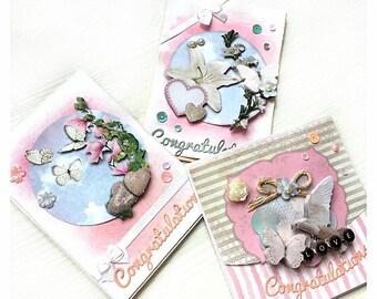 Congratulation card * wedding rose, pastel, flowers, butterfly, handmadecard