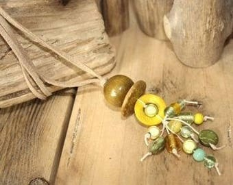 Ethnic wood yellow & green necklace