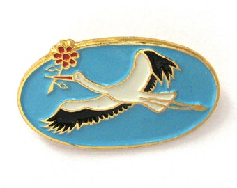 Stork with flower, Soviet Badge, Bird, Rare Vintage collectible Pin, Soviet Union, Made in USSR, 1970s