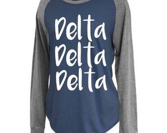 Delta Delta Delta / Tri Delta Raglan Long Sleeve Tshirt