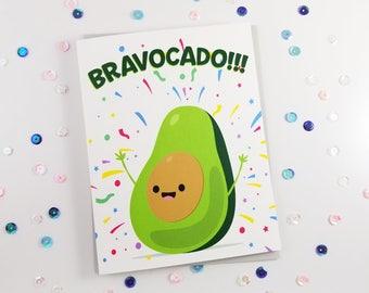 Bravocado Congratulations Card, Avacado Pun Greeting Card, Funny Congrats, Good Job, Pun Cards, Clever Note, Vegetable Pun, Congrats To You