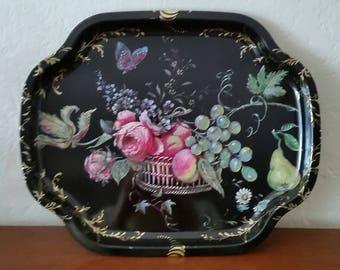 Vintage Metal Serving Tray, Vintage Black Metal Serving Tray, Fruit and Flower Design, Made In Great Britian.