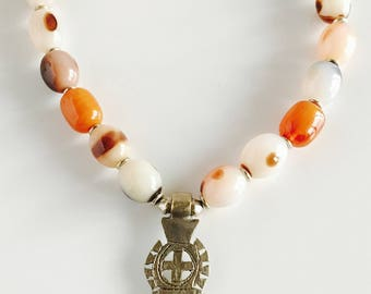 Africa Inspired Multi Colored Genuine Agate Pendant Necklace