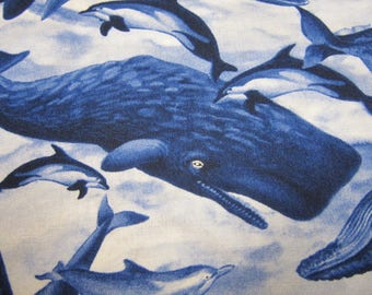 Whale Cotton Fabric in Blue by Timeless Treasures