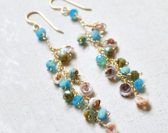 Puka Shell Earrings, Dangling Bead Earrings, Beaded Chain Earrings, Gold Chain Earrings